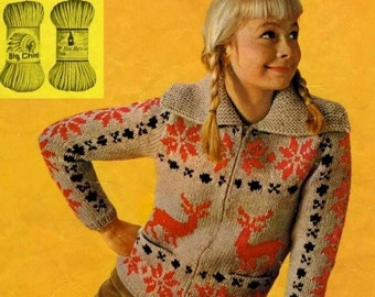 PDF Knitting Pattern for a Reindeer Christmas Festive Nordic Fair Isle Jumper - Instant Download