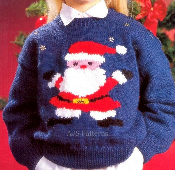Knitting Pattern Christmas Jumper : PDF Knitting Pattern for a Childs Santa Claus by TheKnittingSheep