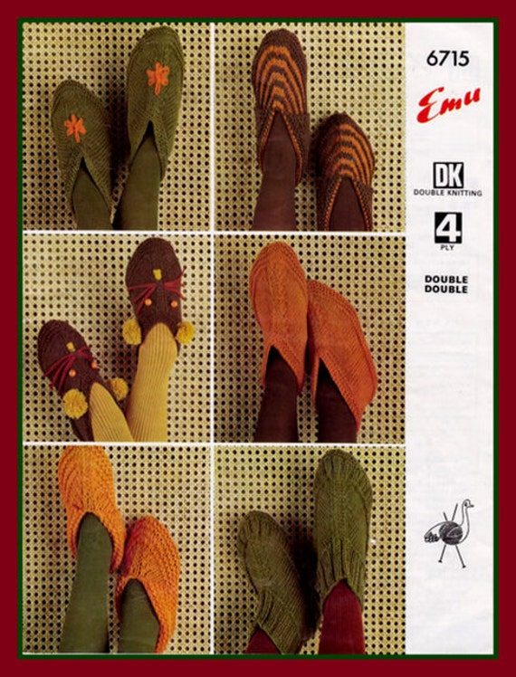 PDF Knitting Pattern For Assorted Adults and Childrens Slippers or House Shoes