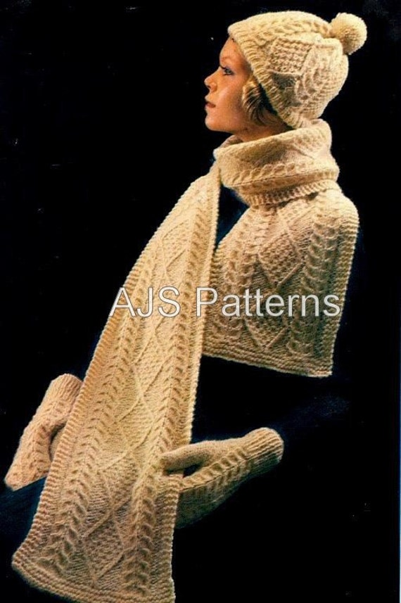 PDF Knitting Pattern Retro Aran Hat Mittens and Scarf Sets