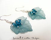 Blue Zircon Swarovski Bicone Cluster & Frosted Aqua Lucite Leaf Sterling Silver Earrings