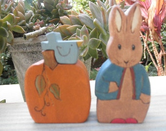 Wood Toys-Peter Rabbit Pumpkin and Blue Bird-Pretend Play-Home Decor-Waldorf Inspired
