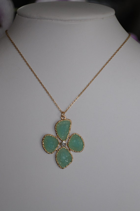 HOLIDAY GIFT - S Light Green Druzy Necklace
