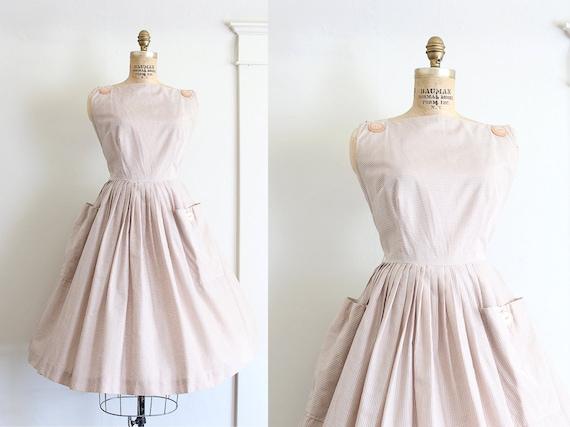 VINTAGE SALE/ vintage 1950s dress // 50s cotton checkered dress // picnic in the park