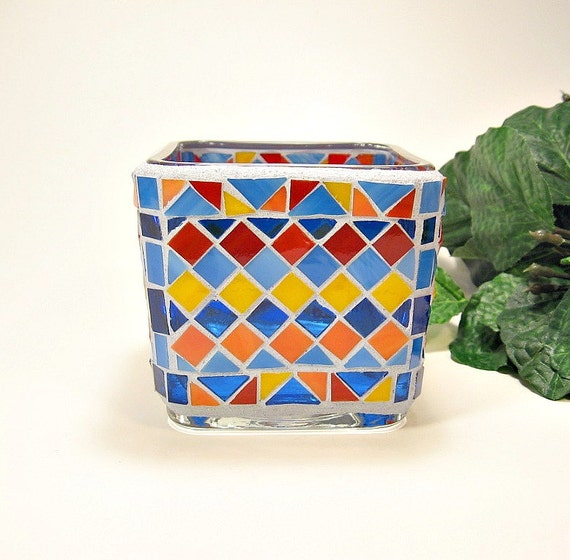 Stained glass mosaic votive candle holder blue orange red