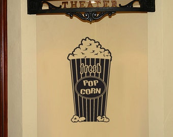 BIG Movie theater popcorn - Vinyl Wall Decal for Home Theater