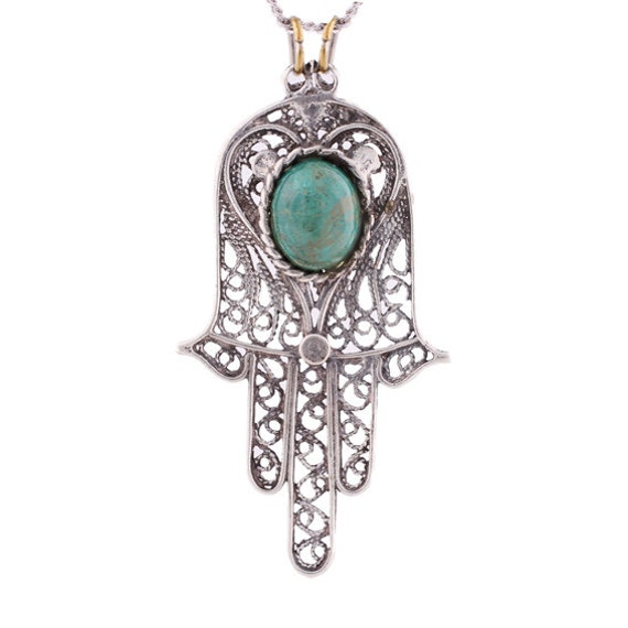 Old  pure silver  pedant  -  Hamsa with  Eilat stone- on of a kind