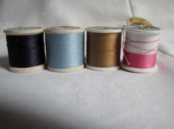 Sewing Thread Super Sheen Coats Mercerized Four Spools