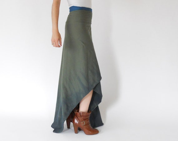 coupon code SAVE20 to receive 20% off Wrap around designer Skirts for women in olive green color with blue tie dye