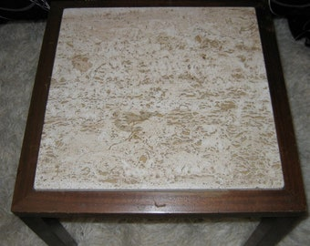 Italian Travertine Marble top Table.  Small vintage side table.  Hollywood Regency, Mid century modern, Danish Modern, Eames era.