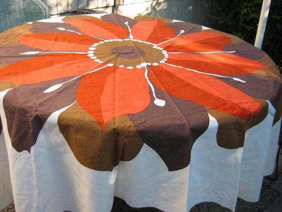 Vintage VERA Oval Tablecloth.  Massive Orange & Brown Flower. Mid century modern, Danish Modern, Eames era. 1960's.