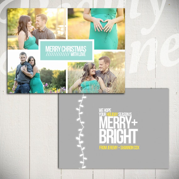 Items Similar To Christmas Card Template: Merry & Bright D