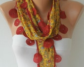 Mustard Scarf  - Cotton  Scarf -  Cowl Scarf with Red Lace Edge   - fatwoman