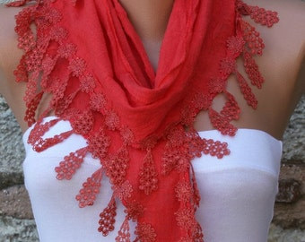 Red Cotton Scarf, Summer Fashion, Cowl Scarf, Bridesmaid Gift Bridal Accessories Gift Ideas For Her, Women Fashion Accessories Women Scarves