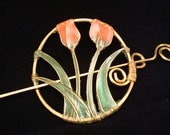 Hair Pin/Shawl Pin- Wire Wrapped Barrette, Pink Tulips, Gold Copper Wire