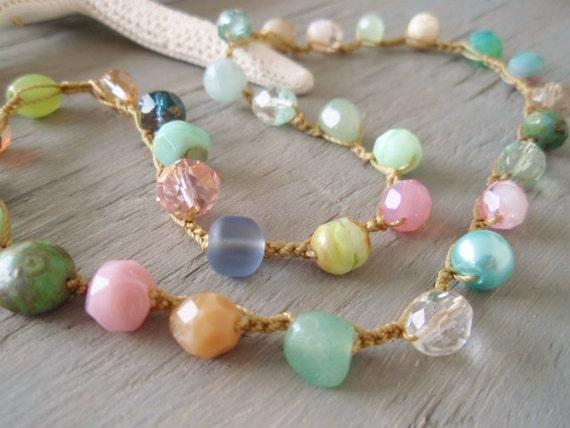 Beach boho crochet necklace 'Bohemian BeachComber', semi precious stone, glass, surfer beach chic, summer, pastel, OOAK