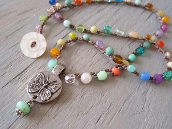 "Crochet colorful necklace ""Dream ButterFly"" multi colored, semi precious stone, glass, rustic, reversible pendant, bohemian jewelry"