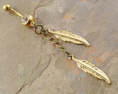 Gold Feather and Chain Belly Button Ring Jewelry
