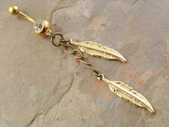 items similar to gold feather and chain belly button ring