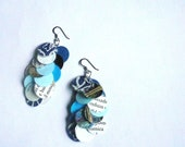 Recycled paper earrings, laminated paper dangle earrings, shades of blue