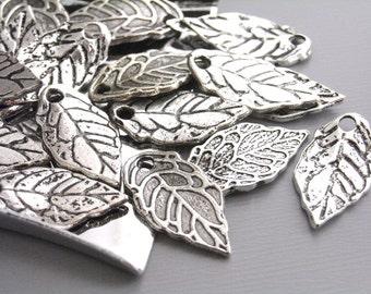 CHARM-SILVER-LEAF-16MM - 20 pcs Antique Silver Mini Leaf Charms