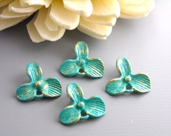 CHARM-ORCHID-BRASS-S-pt - 2 pcs Patinaed Raw Brass (Unplated) Orchid Charm - Small