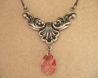 Pink Renaissance necklace - silver gift for her