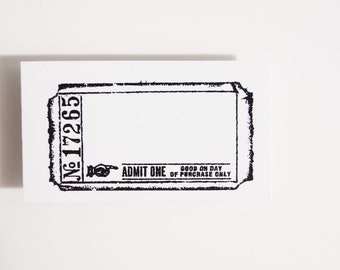 Blank Admit One Ticket Stamp (Rubber Cling Mounted Stamp) - Paper Crafts, Journals, and more