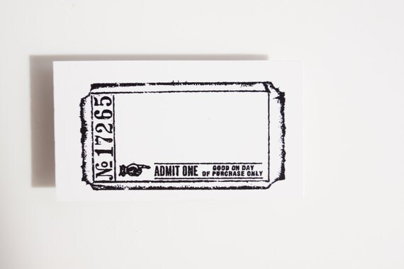 Blank Admit One Ticket Stamp Rubber Cling Mounted Stamp