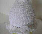 Crochet 100% Acrylic White Hat - 2085