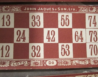 french bingo lotto loto red blue  cards heavy square deal cardboard numbers scrapbooking paper goods steampunk epherma altered arts