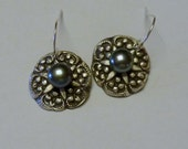 Handcrafted Fine Silver PMC Flower Earrings with natural Black Pearls
