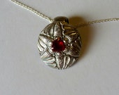 handcrafted Pendant with Natural Trillion Garnet and Sterling Silver chain