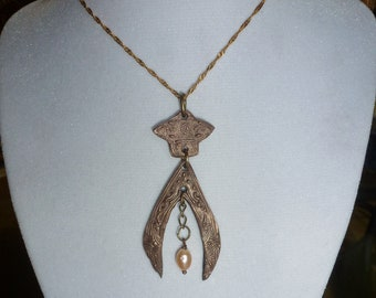 Handcrafted Rose Bronze Pendant with Natural Freshwater Pearl