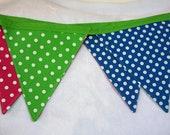 Polka dots bunting / pink green blue polka dot flags