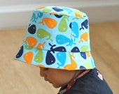 Boy Summer Bucket Hat -Blue whale with orange reversed side and applique, 4T 5T and up, Ready to Ship
