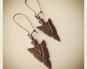 Arrowhead-Bronze Arrowhead Earrings, TRIBAL, native love