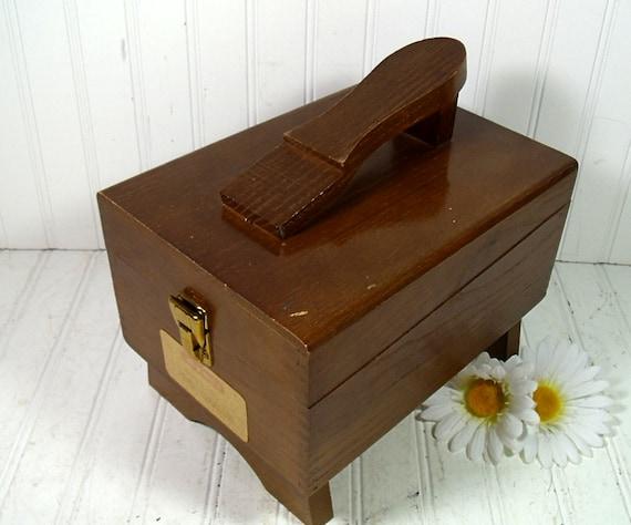 Wooden Shoe Shine Collection - Vintage Kiwi Kit Original Label - 2 Kiwi Sponge Brushes 6 Kiwi Polish Cans & 2 Buffing Rags
