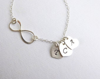 Sterling Silver Infinity Three Heart Initial Necklace -- Personalized  -- Mother of Three -- Friendship -- Sisters
