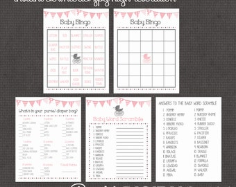 Pink Baby Shower Girl 3 Games digital you print your own- INSTANT DOWNLOAD