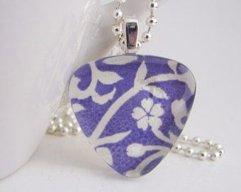 Blue Floral Triangle Pendant with Free Necklace