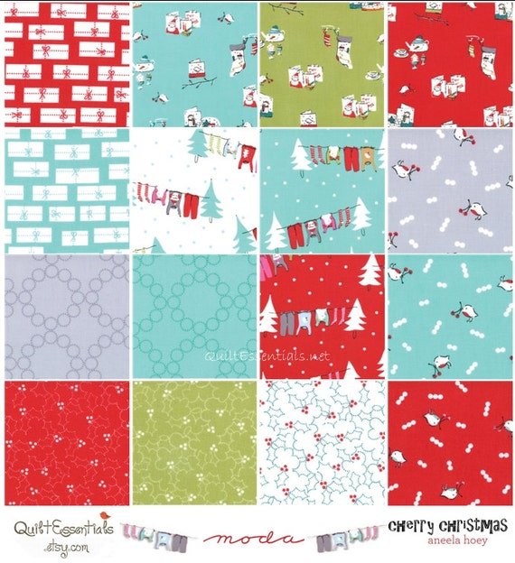 Cherry Christmas by Aneela Hoey for Moda -  16 Piece Fat Quarter Bundle