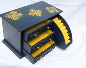 Upcylced vintage jewelry box in Navy blue and mustard yellow.  One of a kind.  Shabby Chic