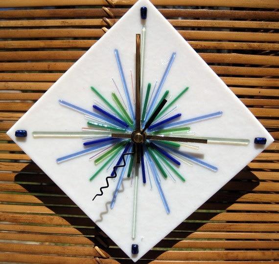 Diamond Snowflake fused glass clock