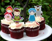 Little Red Riding Hood Cupcake Toppers Set of 12