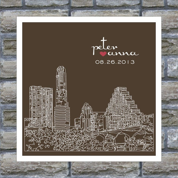 Austin Skyline : Wedding Gift Art Print Personalized FRAMED ART Austin ...
