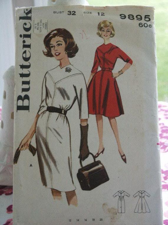 Vintage 60's 9895 Butterick Mad Men Era Slim or Full Flared Skirt Welt Seamed Yoked Dress Sewing Pattern Size 12 Bust 32