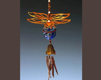 Wind Chime with Potion Bottle - Dragonfly Garden Mobile - Your choice of bottle color