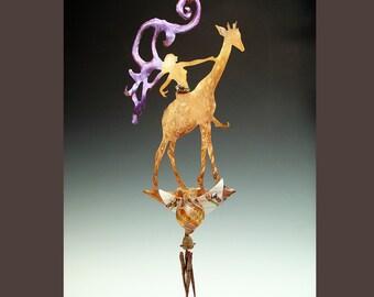 Potion Bottle with Wind Chime - Giraffe Fairy Garden Art