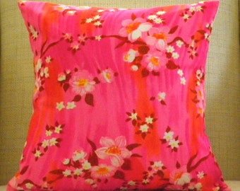 16 x 16 Pillow Cover - Vintage Hot Pink Japanese Cherry Blossoms